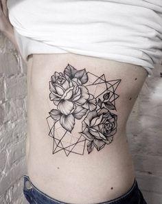 Geometric Rose Tattoo on Ribcage by Dasha Sumkina