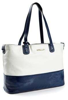 One Kings Lane - Style Steals - Large Leather Tote, White/Indigo