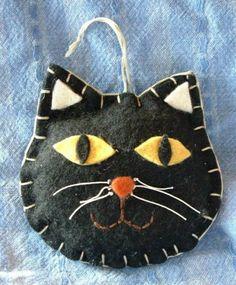 Handcrafted Primitive Folk Art Halloween Black Cat Kitten Face Ornament Hanger | eBay