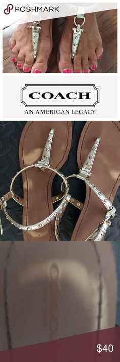 Coach Gold Studded Sandals Sz 9 EUC. No defects to gold straps and studs.  Slight wear on sole. See all photos for details. Coach Shoes Sandals
