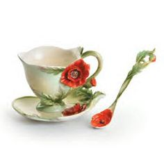 Floral Blossoms Poppy Cup, Saucer and Spoon Set