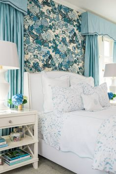 "Beach Blue ""Boone"" Painterly Bedding from Biscuit Home // Schumacher Chiang Mai Dragon Wallpaper Bedroom design by Bailey McCarthy"