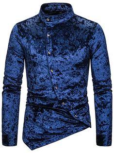 Men's Floral Shirt Basic Long Sleeve Daily Slim Tops Standing Collar White Black Wine / Spring / Work 2021 - Can $34.14 Work Casual, Casual Tops, Casual Shirts, Men Casual, Cheap Mens Shirts, Mens Shirts Online, Tribal Shirt, Work Tops, Summer Shirts
