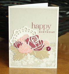 Rosie Posie stamps, Doily Details die.sweet blush, vintage cream,scarlet jewel?