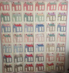 Vintage c1950 Striped Schoolhouse Quilt