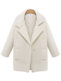 White Single Button Lapel Coat