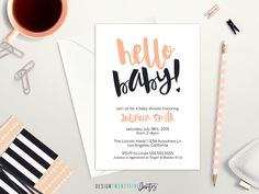 """PRINTABLE """"Hello Baby"""" Baby Shower Invitation, Thank You Card & Book Insert // Customized // Baby // Custom Color by designtwentyfive"""