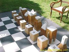 Giant Block Chess At Outdoor Area