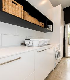 Laundry Room Design: Could be good to fit in one tall cupboard next to stacked washer and dryer, to store linen, etc in here. Laundry Decor, Small Laundry Rooms, Laundry Room Design, Laundry In Bathroom, Laundry Shelves, Laundry Room Storage, Interior Design Living Room, Living Room Designs, Laundry Room Inspiration