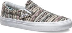 Vans+Textile+Stripes+Slip-On+-+Balsam/True+White+with+FREE+Shipping+&+Exchanges.+This+low-profile+slip-on+features+a+textile+upper+with+allover+striped+