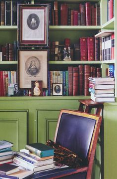 Mossy green walls, colorful book spines - Ben Pentreath, photo by Jan Baldwin