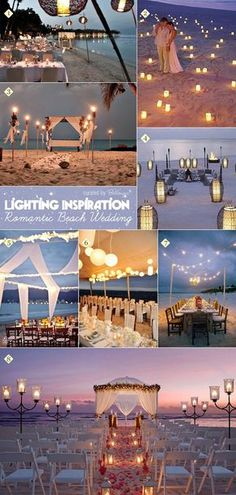 Creative ideas for how to apply lighting and candles at a beach wedding
