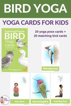 Bird Yoga Cards for Kids Kids Yoga Poses, Easy Yoga Poses, Yoga Poses For Beginners, Yoga For Kids, Gross Motor Activities, Indoor Activities For Kids, Learning Activities, Chico Yoga, Kinesthetic Learning