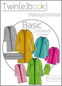 Twin(e)book Basic Strickmantel - Schnittmuster und Anleitung als PDF, versandkostenfrei