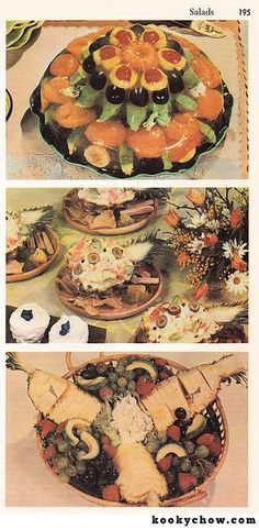 Top: Tiny green aliens with black heads and staring eyes lurking within a jellied fruit pyramid. Below: Pineapples cut in half (vertically, not easy to do) and other fruits paying homage to a center mound of tuna salad. Gross Food, Weird Food, Scary Food, Bad Food, Vintage Cooking, Vintage Food, Food Fails, Jello Recipes, Old Fashioned Recipes