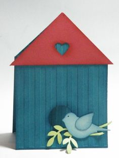 """Birdhouse Card - The card base is 11"""" x 3-3/4"""" and the fold is scored at 1-7/8 -roof is 3"""" square cut in half to make triangle"""