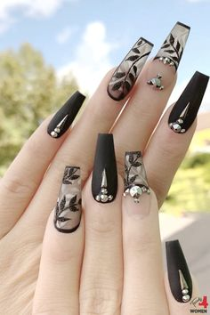 Black Acrylic Nails, Best Acrylic Nails, Bling Nails, Swag Nails, Grunge Nails, Gorgeous Nails, Pretty Nails, Nail Design Spring, Glamour Nails