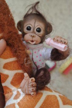 OOAK Reborn Monkey Orangutan Baby Girl Art Doll Monkey Clay Baby | eBay
