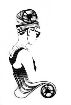 Audrey Hepburn depicted in old audio tape.