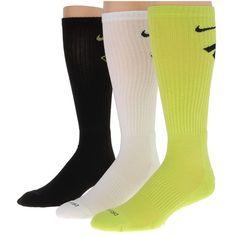 Nike Dri-Fit Fly Crew 3-Pair Pack (Cyber/(Black)/White/(Black)) Crew... ($16) ❤ liked on Polyvore featuring intimates, hosiery, socks, white crew socks, sport socks, sport crew socks, white sports socks and sports crew socks
