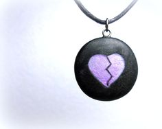 Broken Heart, Anti Valentine Purple and Black Necklace, Handmade Polymer Clay Jewelry, Goth, Pendant by neiceysclaythings on Etsy