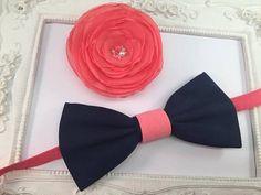 SET Noeud Papillon et Barrettes Fleur bleu marine  rose