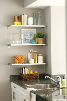 Styling shelves in the kitchen via @homegoods kitchen decor. (sponsored pin)