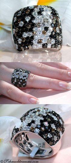 Huge Black, White & Brown Diamond Ring, 5,17 cts. WG-14K -- Find out: schmucktraeume.com - Like: https://www.facebook.com/pages/Noble-Juwelen/150871984924926 - Contact: info@schmucktraeume.com