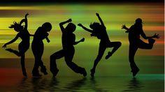 Música, baile, siluetas, formas, sombras, personas, danza, movimiento, diversión wallpaper
