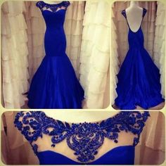 Wholesale-2014 scalloped royal blue backless mermaid  prom dress  B05283
