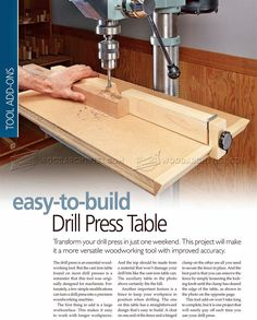 #1019 Drill Press Table Plan - Drill Press Tips, Jigs and Fixtures