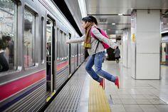 Levitating on transit in Japan. Photos by @yowayowacamera.
