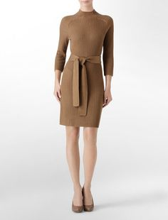 fashion & style - ShopStyle: Calvin Klein Belted Ribbed Sweater Dress