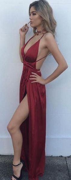 44710d73e3e92 Formal Evening Dresses, Sexy Prom Dresses,Long Party Dresses,New Arrival  Prom Dress,Modest Prom Dress,Sexy Burgundy Maxi Dress,v Neck Evening Dress,backless  ...