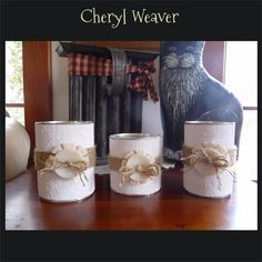 3 White Burlap Cans Handpainted with White Buttons by cherylweaver