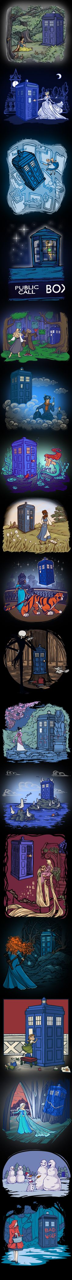 Karen Hallion Disney Doctor Who mashups. These are cool. And, you know, Mary Poppins does have a bag that's bigger on the inside...