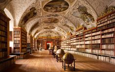 The Rococo ceiling of the Theological Hall at Strahov Abbey was added 40 years after the room was initially completed; the masonry vaulting offered a degree of protection from fire – a huge problem in medieval and Renaissance libraries as coal or wood fires were used for heating. Picture: Will Pryce...
