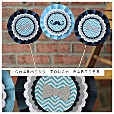 Let us add a CHARMING TOUCH to your event with our Boy 1st / First Birthday Little Man Bowtie Party Decorations. This listing includes the following CUSTOM MADE items: 1. Set of 3 Rosette Centerpiece Sticks ** Colors: Pastel Blue, Navy Blue, and Gray -- if you want different