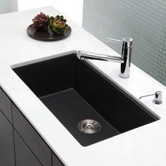 "Kraus KGU-413B 31"" Undermount Single Bowl Black Onyx Granite Kitchen Sink"