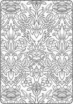 Creative Haven Deluxe Edition Elegant Art Nouveau Coloring Book @ Dover Publications