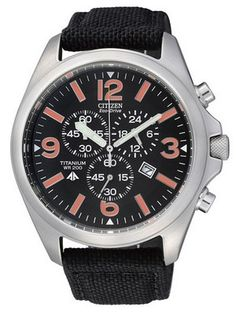 51% off on  Citizen Eco-Drive Chronograph Titanium AT0660-13E AT0660 Men's Watch  US $195.00    Features:    Titanium Case  Black Nylon Strap  Eco-Drive Technology  Solar power watch: charges in sunlight or indoors - no batteries to change ever.  Power Reserve Indicator  Chronograph Function  Date Window