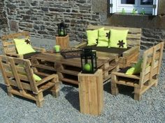 pallet furniture set. way cheaper than buying a set.