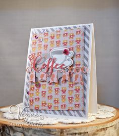 Handmade card by Stacey Schafer using the Coffee set and Coffee Word Die from Verve. #vervestamps #coffeelovingpapercrafters