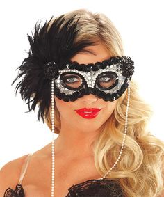 Look what I found on #zulily! Onyx Pearl Feather Mask - Adult #zulilyfinds