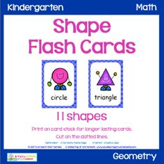 Shape Flash Cards by A Wellspring of Worksheets Teaching Kids, Teaching Resources, Kindergarten Math, Preschool, Plane Shapes, Blue Polka Dots, Math Centers, Lesson Plans, Card Stock