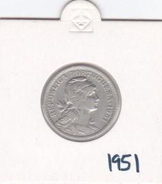Portugal 50 Centavos 1951 - Copper-Nickel Coin XF - CIRCULATED SCARCE HIGH GRADE
