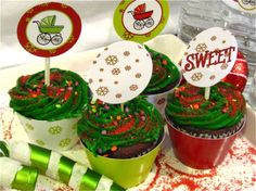 free holiday baby shower party printables cupcake toppers
