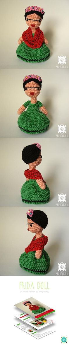 Frida Doll Amigurumi Pattern This is so cute! I love it!