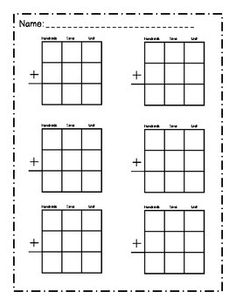 Regrouping Templates for 2 and 3 Digit Addition or