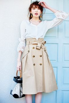 Turn a trench coat into a skirt Stylish Summer Outfits, Trendy Outfits, Modest Fashion, Fashion Outfits, Womens Fashion, Japanese Fashion, Korean Fashion, Ulzzang Fashion, Office Fashion